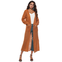 M&J Cardigan Women Long Sleeve New Female Elegant Knitted Outerwear Sweater Fashion Women Coat orange s