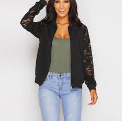 M&J Lace Sleeve Women Basic Coats Long Sleeve Lace Patchwork Transparent Zipper Casual Slim Jacket black s