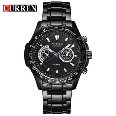 Curren Quartz Black Vogue Business Military Man Men's Watches 3ATM waterproof  Watch Gift black black 43mm
