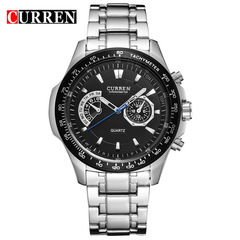 Curren Quartz Black Vogue Business Military Man Men's Watches 3ATM waterproof  Watch Gift silver black 43mm