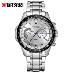 Curren Quartz Black Vogue Business Military Man Men's Watches 3ATM waterproof  Watch Gift silver white 43mm
