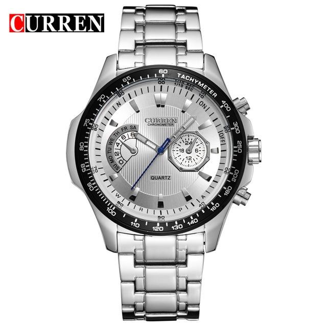 Curren Quartz Black Vogue Business Military Man Men's Watches 3ATM waterproof  Watch Gift silver white 43mm