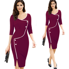 M&J Plus Size Elegant Patchwork Office Dresses Women Vintage Split O-Neck Bodycon Work Pencil Dress s wine red