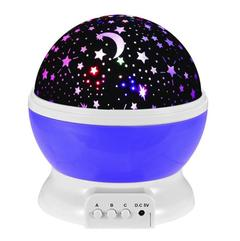 Starlight LED USB Rechargeable Rotary Nightlight  Moon Starry Sky Led Lights For Home Kids Lamp Gift purple as picture 5w