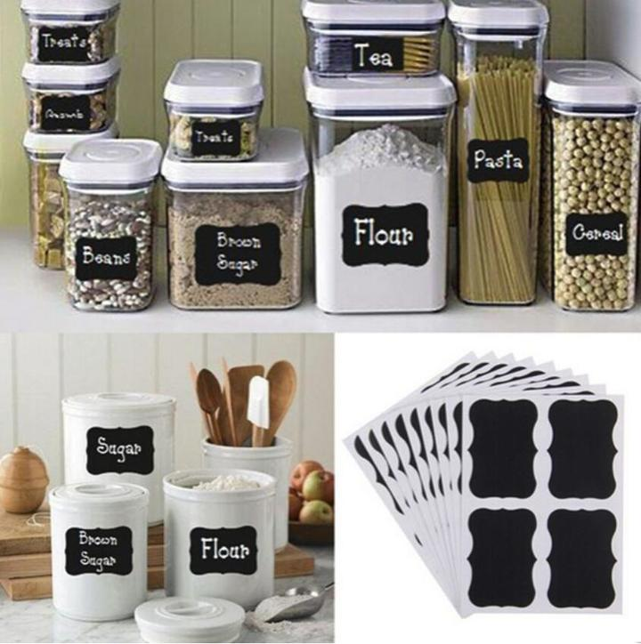 32PCS Fancy Black Board Kitchen Jam Jar Label Labels Stickers Decor Chalkboard black 5*3.5cm/pcs