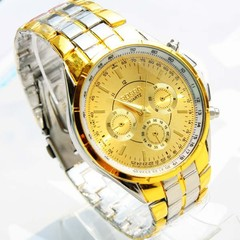 Rosra Gold Plated Watches Men Gold Full Steel Watch Man Luxury Gold Mens Watches Relogio Masculino gold 40mm