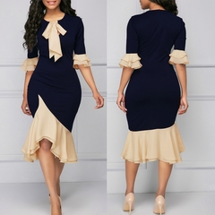 M&J Vintage Elegant Office Lady Women Dresses Mermaid Flare Sleeve Bow Collar Sexy Party Dress s navy blue