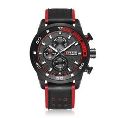 CURREN Top New Fashion Quartz Wrist Watch Men Leather Strap Round Quartz Watches black red 48mm
