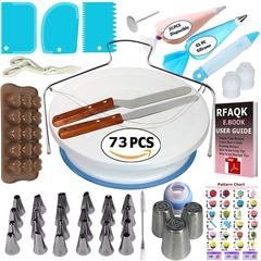 M&J 73PCS Multifunction Cake Decorating Kit Cake Turntable Set Pastry Tube Fondant Tool Kitchen Type B 11.81*11.81*3.94in