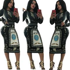 M&J Print Novelty Bandage Bodycon Dress Women O Neck Long Sleeve  Dress Elegant Slim Party Dresses s black