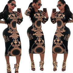 M&J Print Novelty Bandage Bodycon Dress Women O Neck Long Sleeve  Dress Elegant Slim Party Dresses s black gold