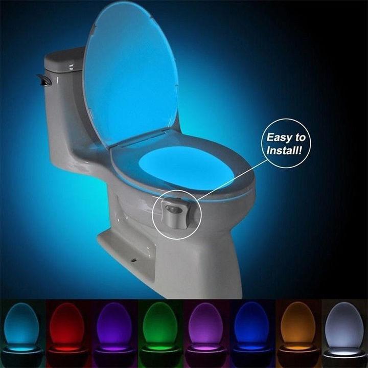 Smart PIR Motion Sensor Toilet Seat Night Light 8 Colors Waterproof Toilet Bowl LED  Lamp 8 colors as picture 1w
