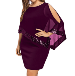 M&J Plus Size Sexy Sequined Overlay Capelet Dress O-Neck Short Sleeve Women Bodycon Party Dresses s wine red