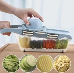 Vegetable Cutter With Steel Blade Slicer Potato Peeler Carrot Cheese Grater Slicer Kitchen Tools blue 32*11*11cm