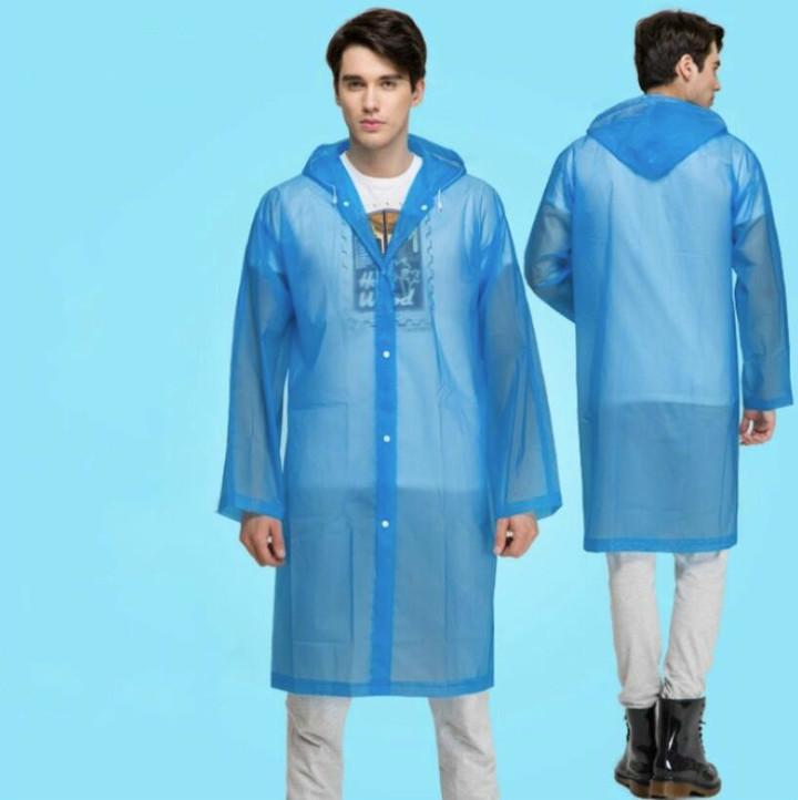 Fashion EVA  Raincoat Thickened Waterproof Rain Coat Clear Transparent Camping Waterproof Rainwear blue