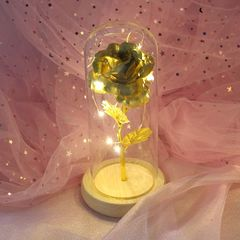 4 Styles Artificial 24K Gold Plating LED Light Rose in a Glass  For Valentine Gift Mother Day Gifts gold 22*10*8cm