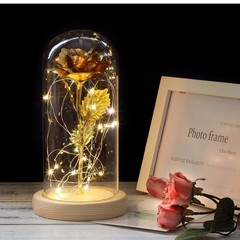 LED Gold Rose In Glass Dome Beauty And The Beast Rose Decorative Flowers Birthday Valentine's Gifts gold 22*9cm