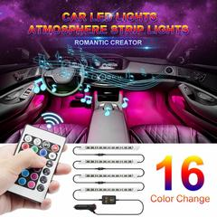 4Pcs RGB 9 LED Strip Light Car Auto Remote Control Decorative Flexible LED Strip Atmosphere Lamp Kit