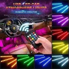 4Pcs Car Atmosphere Lamp Voice Control 9 LED Strip Lights Auto Decoration Cars Interior Music Light