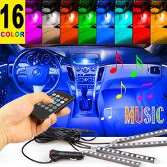 4Pcs Car Atmosphere Lamp Music Control 12 LED Strip Lights Auto Decoration Cars Interior Music Light