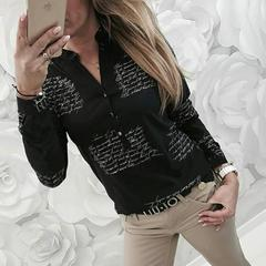 Women New Clothing V Neck Letters Printing Button Long Sleeve Blouse Shirt  Woman Fashion Work Tops black s