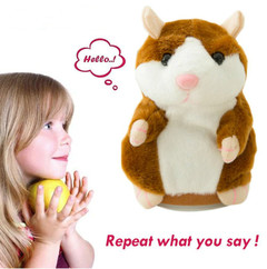 Talking Hamster Plush Toys Electronic Speak Pets Sound Record Repeat Plush Toy Educational Toy light brown 16cm