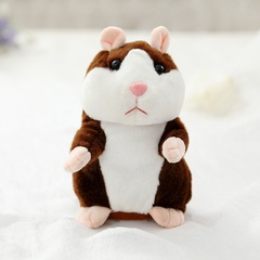 Talking Hamster Plush Toys Electronic Speak Pets Sound Record Repeat Plush Toy Educational Toy dark brown 16cm