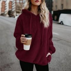 Hot Sale Women Sexy Solid Fluffy Warm Tops Hoodies Ladies Hooded Pullover Hoodie Sweatshirt wine red s