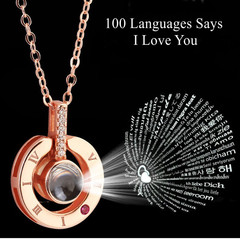 Gift For girlfriend 100 Languages Says I love You Projection Necklace Valentines Day Gift Present round rose gold 40cm