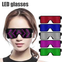 New 8 Modes Quick Flash Led Party Glasses USB Charge Luminous Glasses Wedding Concert Light Toys blue 155*140*50mm
