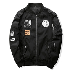 M&J Fashion Men Bomber Jacket Hip Hop Patch Design Slim Fit Pilot Jacket Casual Coat Plus Size Coats black m