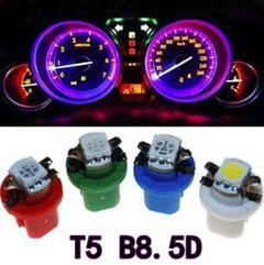 10PCS B8.5D Led 1 SMD T5 Lamp Car Gauge Speed Dash Bulb Dashboard Light Wedge Interior Lamp 10X blue as picture