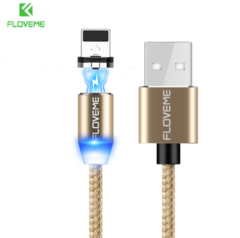 FLOVEME Magnetic Cable Mobile LED Type C Micro USB Magnet Charger Cable For iPhone 7 8 6 Huawei gold For iPhone