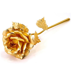 24K Foil Plated Rose Gold Rose Wedding Decor Valentine's Day Gift Lover's Artificial Home Decor gold 25cm