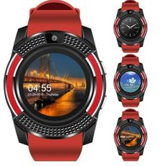 Smart Watches Bluetooth Waterproof Touch Screen Watch HD Camera/SIM Card For iPhone Android Phone red one size