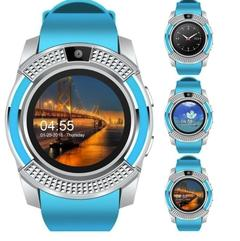 Smart Watches Bluetooth Waterproof Touch Screen Watch HD Camera/SIM Card For iPhone Android Phone blue one size