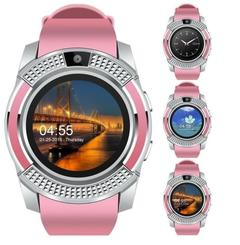 Smart Watches Bluetooth Waterproof Touch Screen Watch HD Camera/SIM Card For iPhone Android Phone pink one size