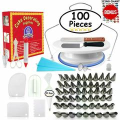 100PCS Multifunction Cake Decorating Kit Cake Turntable Set Pastry Tube Fondant Kitchen Bakery Tools as picture 11.1 x 11 x 2.8 inches