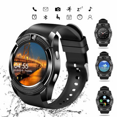 Smart Watches Bluetooth Waterproof Touch Screen Watch HD Camera/SIM Card For iPhone Android Phone black one size