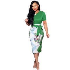 M&J New Fashion Women Short Sleeve Floral Print Bodycon Dresses Sexy Office Work Dress Party Dress s green