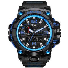 SMAEL Men Military Watch 50m Waterproof Wristwatch LED Quartz Clock Sport Watch Male Sport Watches blue 51mm