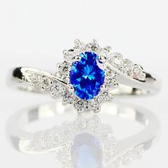 Exquisite Sterling Silver Natural Sapphire Gemstones Opal Birthstone Bride Wedding Engagement Ring blue 6