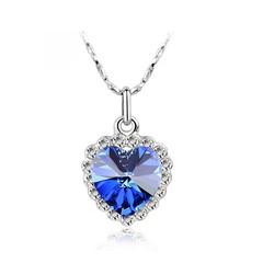 Classic Zircon Glass Ocean Heart Dark Blue Crystal Necklaces & Pendants Statement Chain Necklace blue 18cm