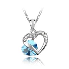 Heart Choker Necklace Women Necklaces & Pendants For Women Crystal Pendant Purple Pink Blue Jewelry blue 23cm