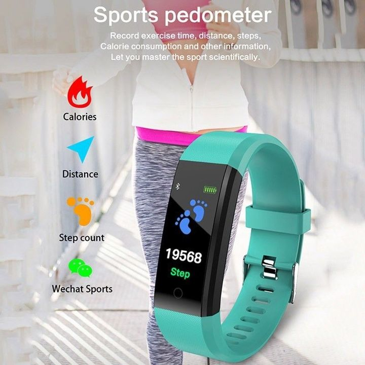 Smart Band Fitness Sports Blood Pressure Heart Rate Monitor Smart Watch Wrist Band Bracelet light blue one size