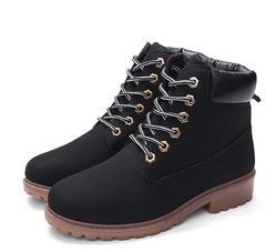 Hot New Shoes Women Flat Heel Boots Fashion Warm Women Boots Brand Women Ankle Boots black 36
