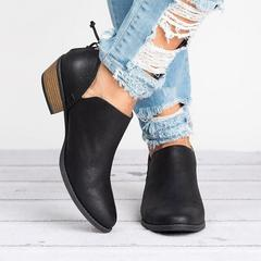 New Women Boots Female Square Heel Slip on Women High Heels Shoes Pointed Toe Casual Ladies Shoes black 35