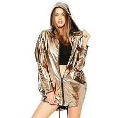 M&J Women Jacket Adjustable Lace Up Hooded Shiny Fashion Jackets Zipper Casual Loose Coat Outwear gold s