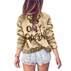 Women Bomber Jacket Women Coat Crown Queen Print Long Sleeve Zipper Top Coat Biker Short Outwear gold s