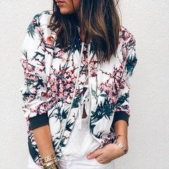 Floral Print Zipper Casual Jacket Women Long Sleeve Loose Bomber Jacket Coat Fashion Tops Outerwear blue s